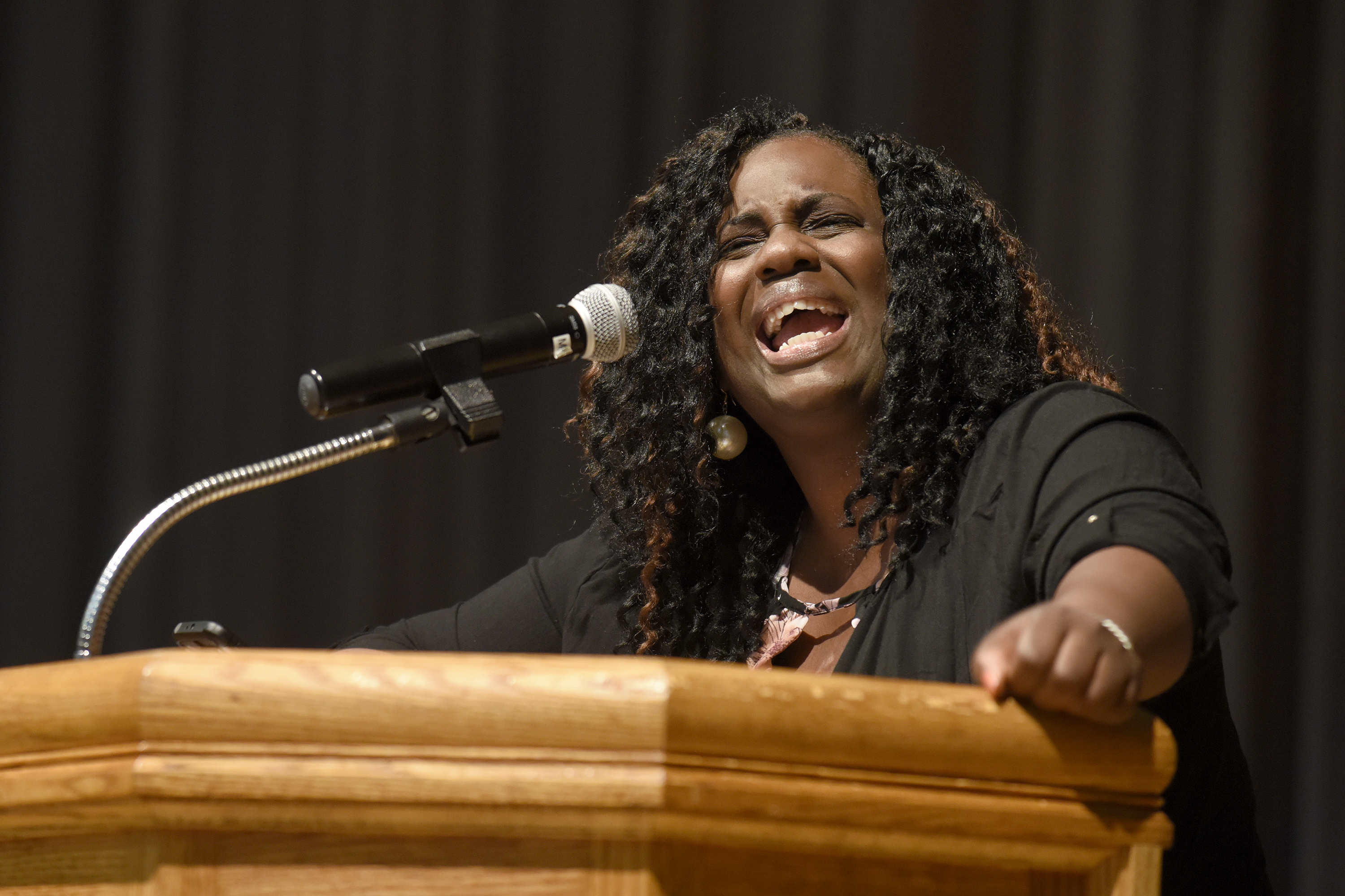 Stephanie Ingram shares her testimony about her son's death from gun violence during the worship service Thursday night during the Central District Conference, Thursday, June 22, 2017, at Bluffton University, Bluffton, OH.  Photograph by J. Tyler Klassen