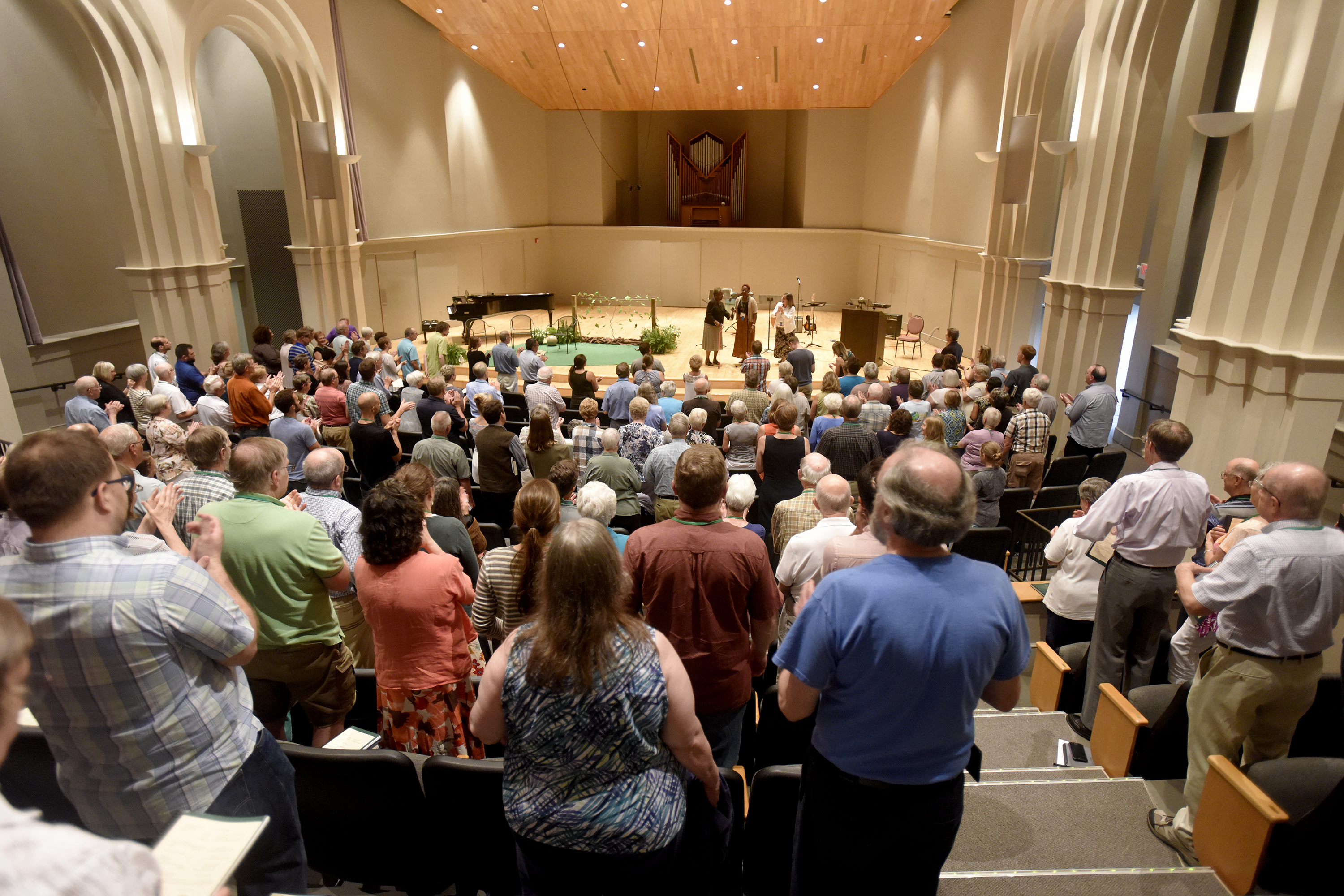 Participants in the 2017 Central District Conference worship during the Friday night service in Yoder Recital Hall, Friday, June 23, 2017, at Bluffton University, Bluffton, OH. Photograph by J. Tyler Klassen