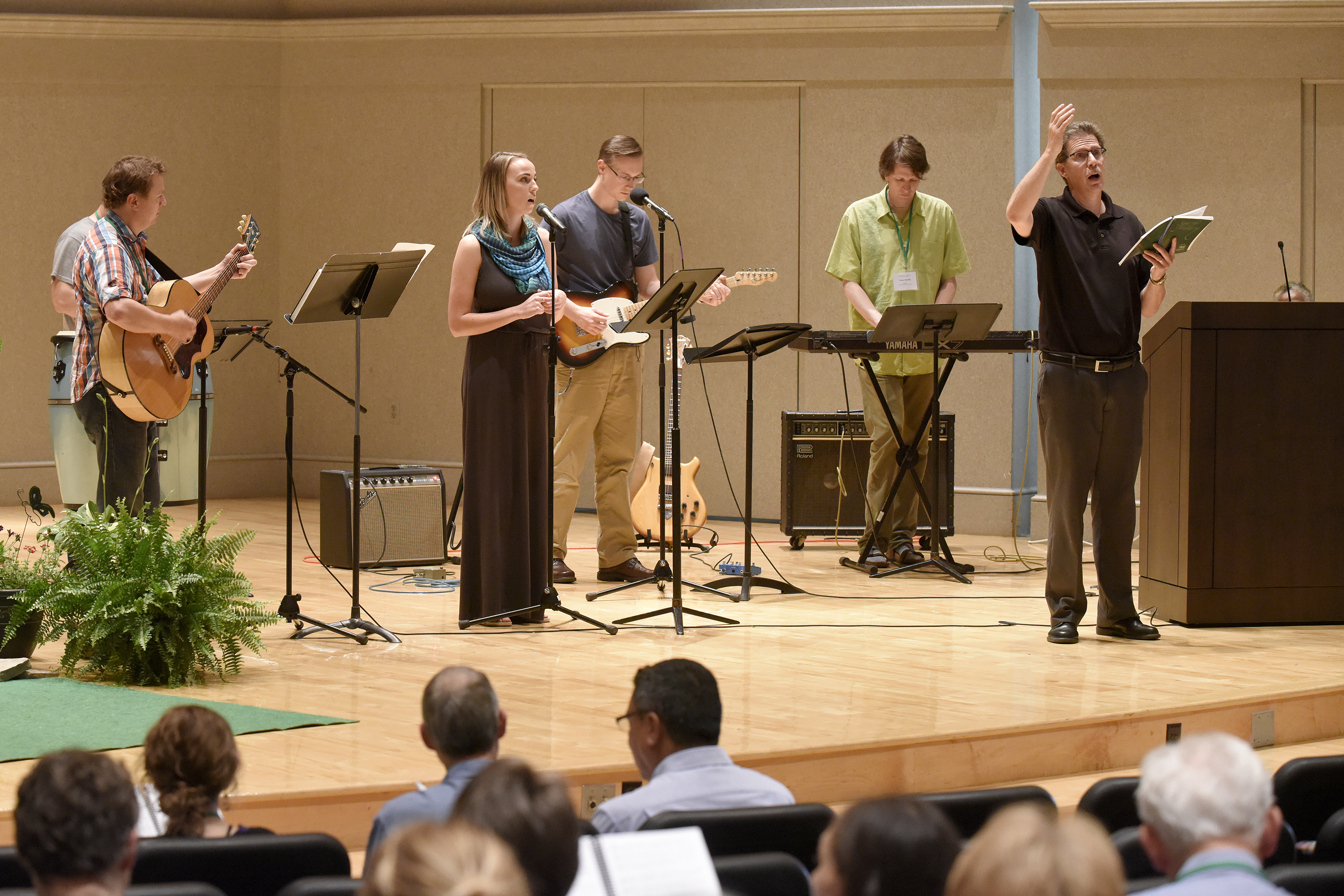 The worship band plays during the Friday evening service at Yoder Recital Hall during the Central District Conference, Friday, June 23, 2017, at Bluffton University, Bluffton, OH. From left are Bradley Kauffman, Rileigh Zickafoose, Joel Wildermuth, Trevor Bechtel and song leader Mark Suderman. Photograph by J. Tyler Klassen