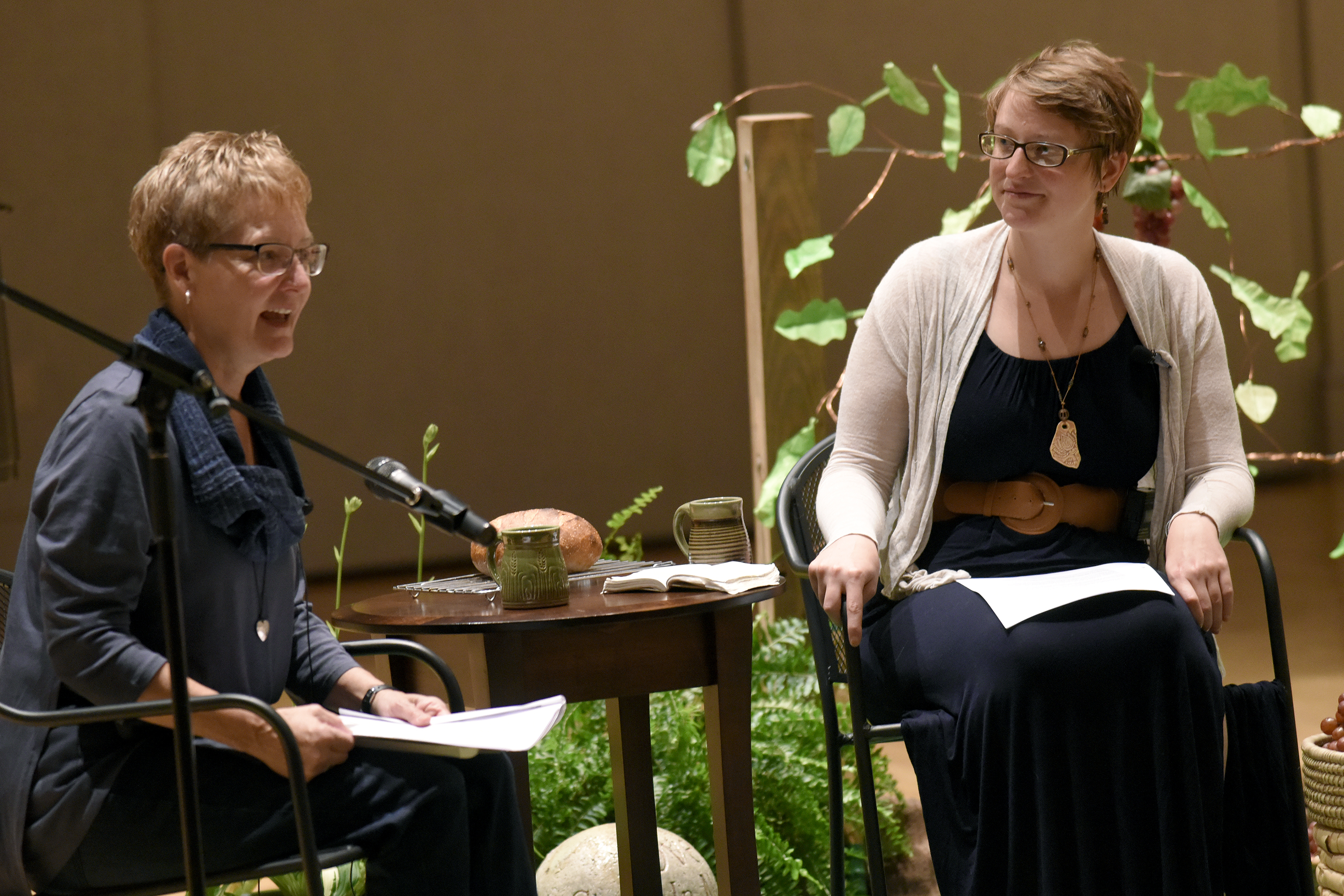 Anita Rediger (left) and Emily Hedrick present a conversational sermon during the Saturday morning worship service at Yoder Recital Hall during the Central District Conference, Friday, June 23, 2017, at Bluffton University, Bluffton, OH. Rediger is pastor at Emmaus Road Mennonite Fellowship and Hedrick is pastor at Lima Mennonite Church. Photograph by J. Tyler Klassen